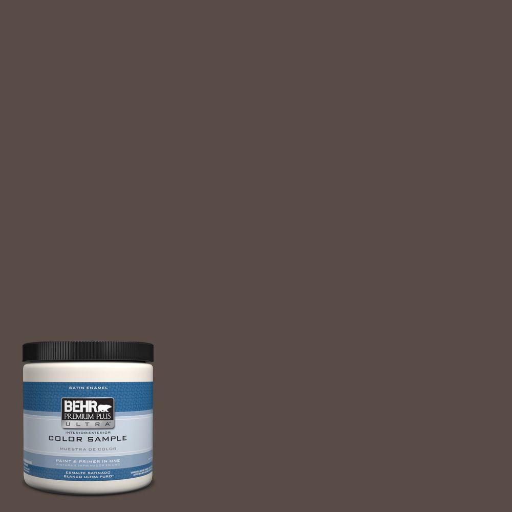BEHR Premium Plus Ultra 8 oz. #PPU5-19 Dark Truffle Interior/Exterior Satin Enamel Paint Sample