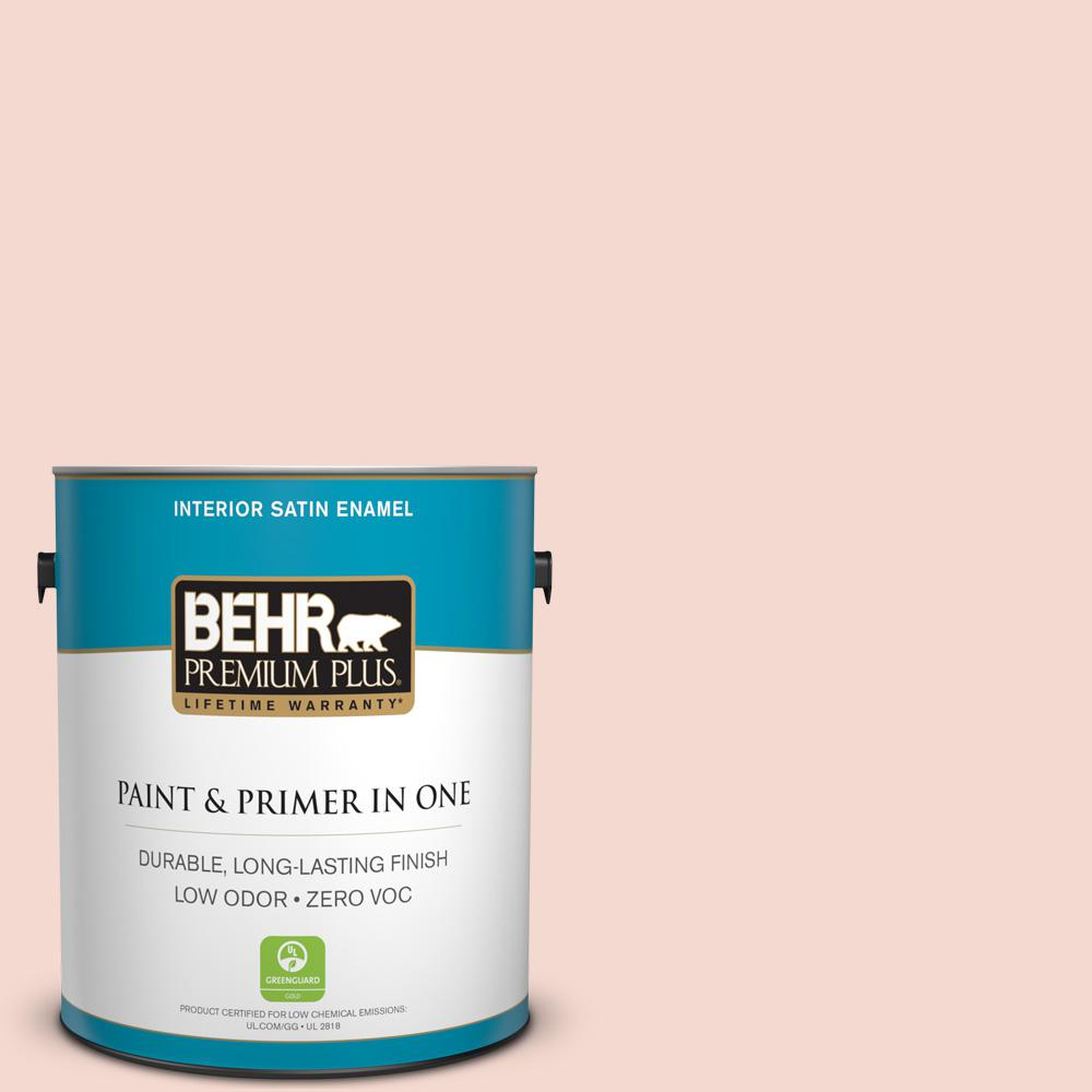 1-gal. #200E-1 Possibly Pink Zero VOC Satin Enamel Interior Paint