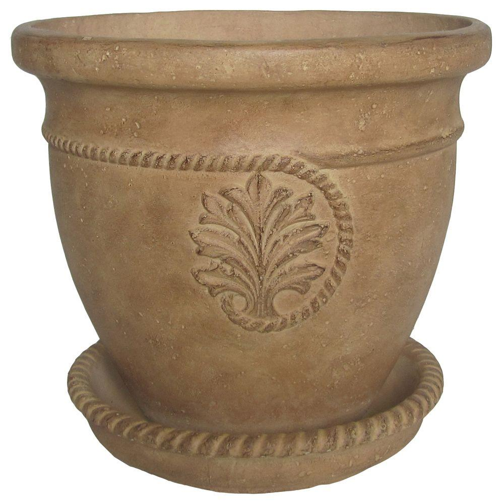 16 in. Dia Ivory Cameo Cast Stone Pot