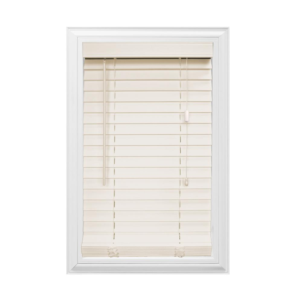Cut-to-Width Beige 2 in. Faux Wood Blind - 72 in. W