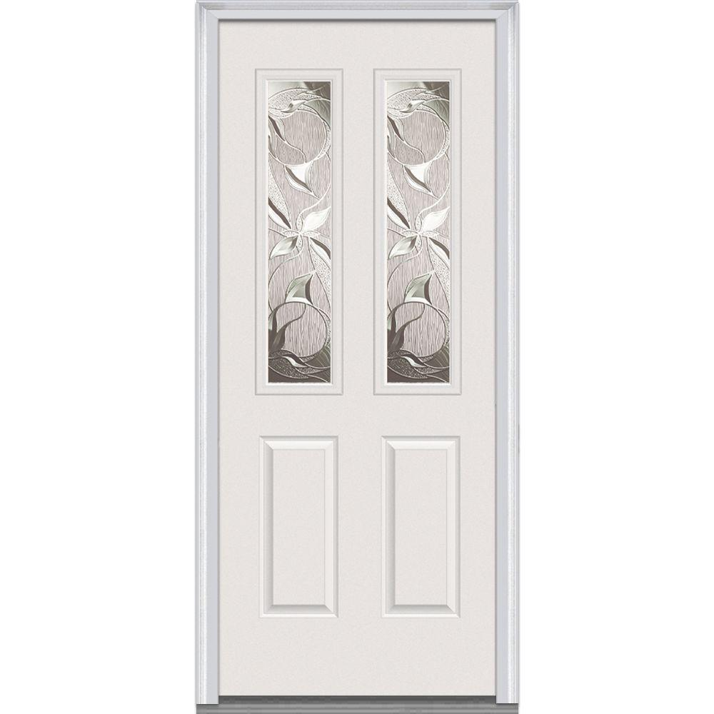 Milliken Millwork 34 in. x 80 in. Lasting Impressions Decorative Glass 2 Lite 2-Panel Primed White Fiberglass Smooth Prehung Front Door