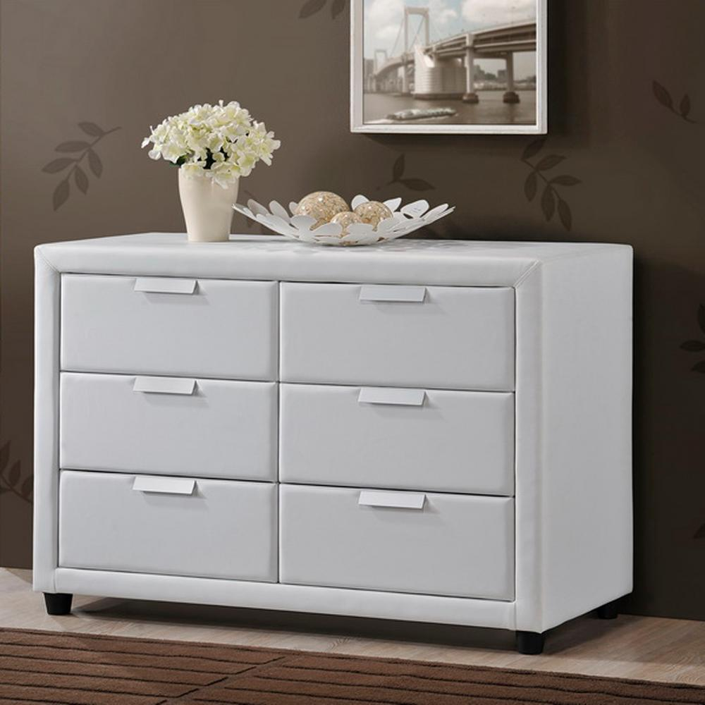 Pageant Contemporary White Faux Leather Upholstered Chest