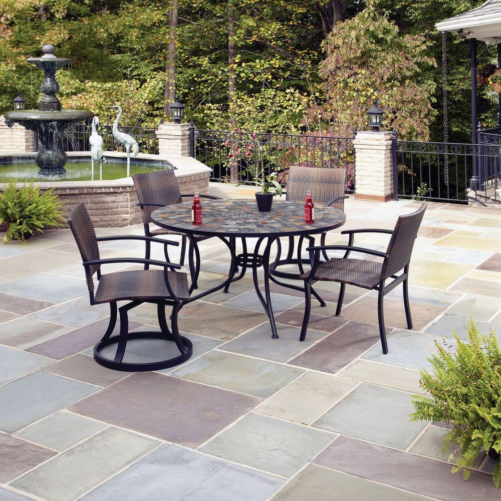 Home Styles Stone Harbor 5-Piece Patio Dining Set with Newport Swivel Chairs