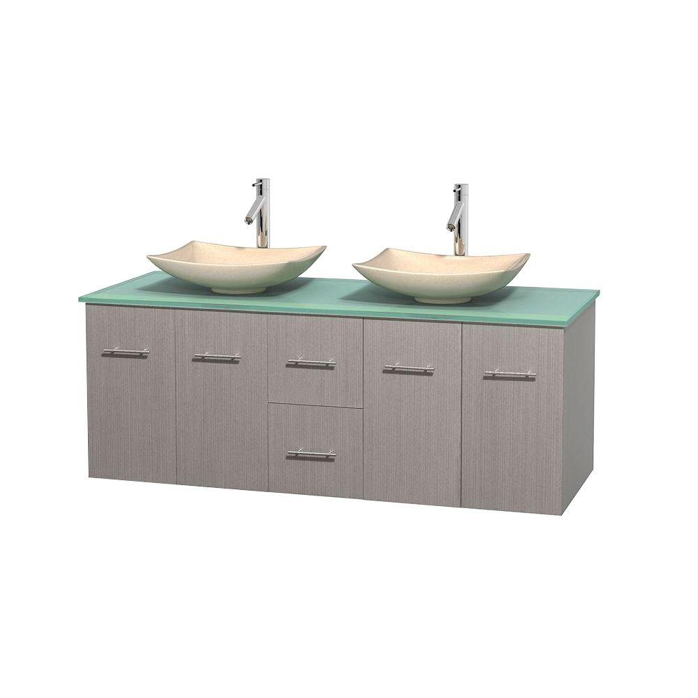 Centra 60 in. Double Vanity in Gray Oak with Glass Vanity