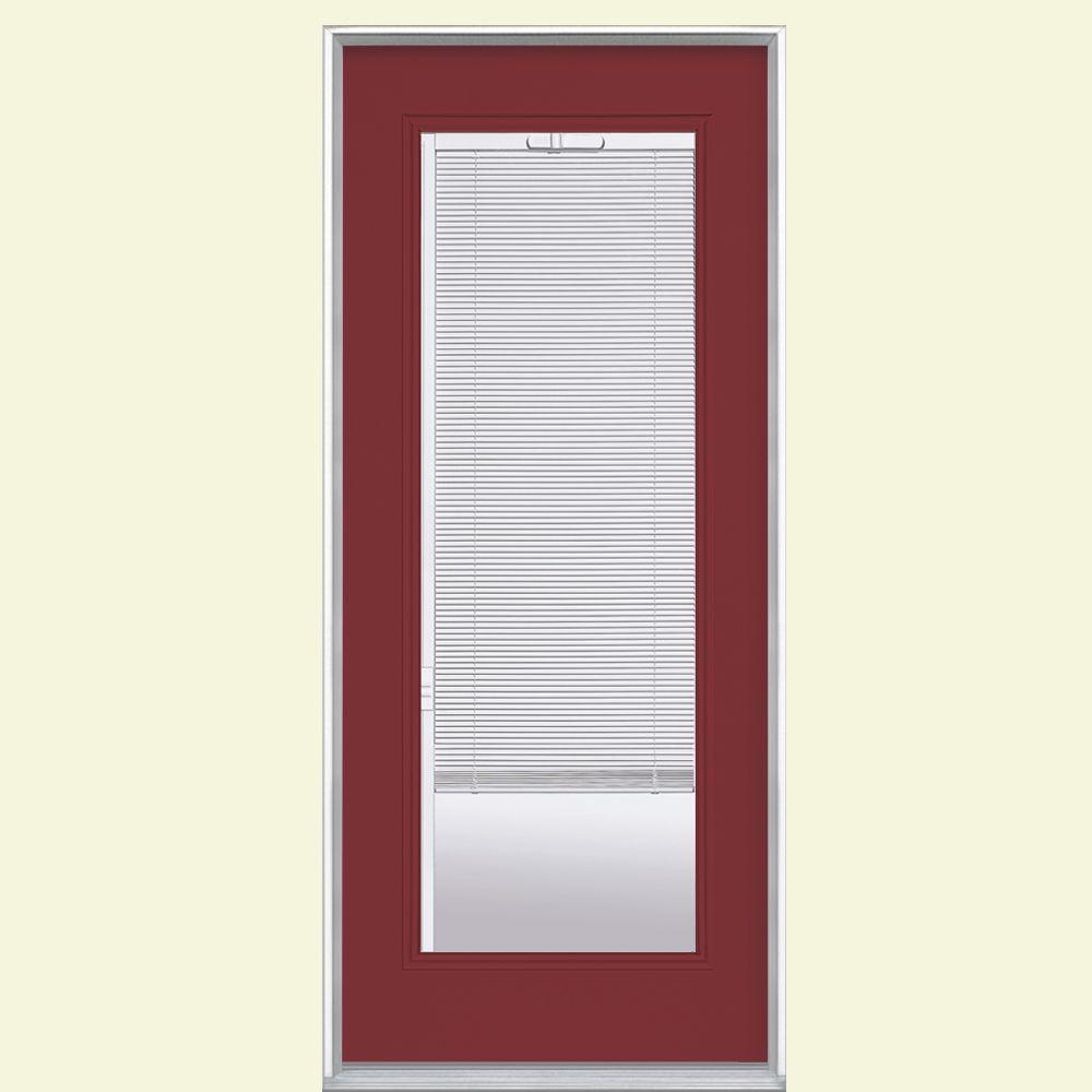 Masonite 32 in x 80 in mini blind painted steel prehung for Front door window blinds
