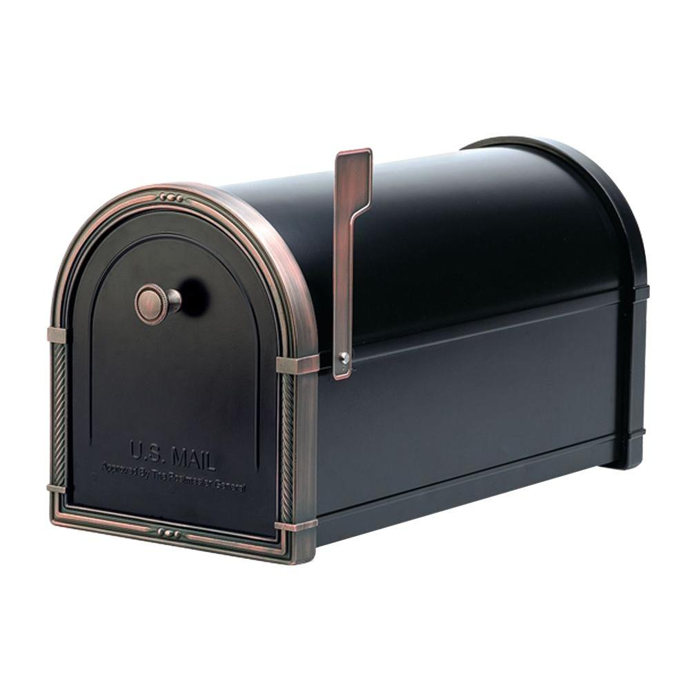 Architectural Mailboxes Coronado Black with Antique Copper Accents Post-Mount Mailbox