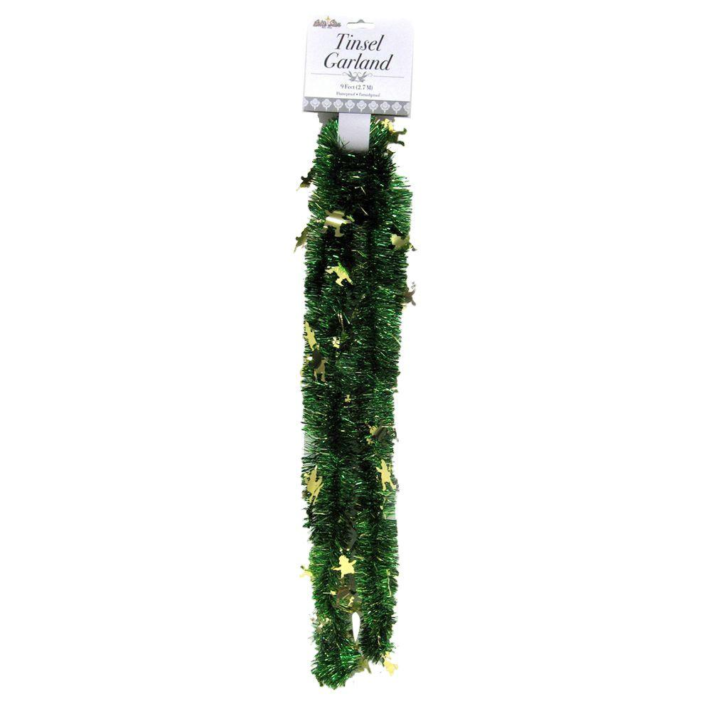 9 ft. St. Patrick Clover Garland Green with Gold Leprechauns (Set