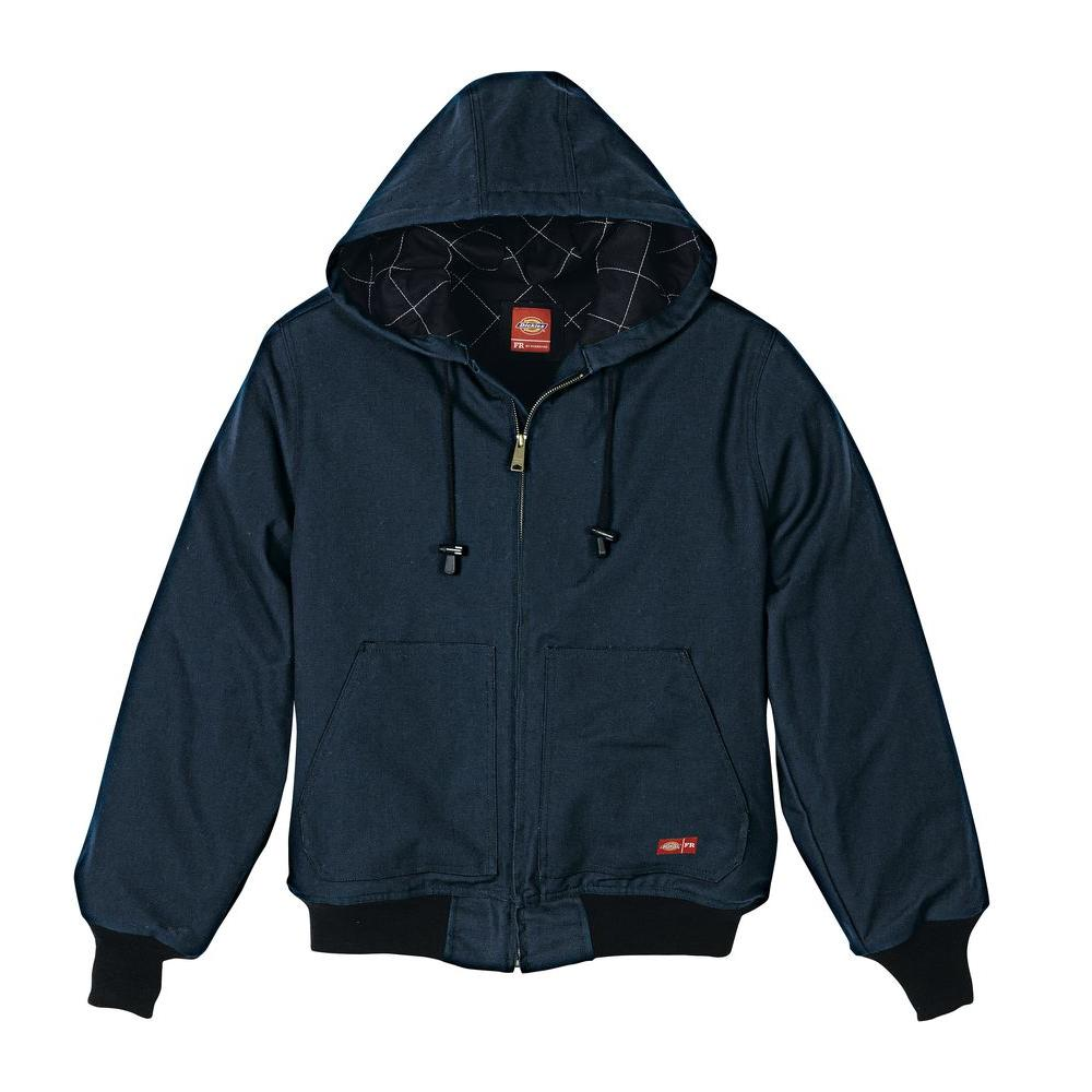 Men's Extra Large Navy Flame Resistant Insulated Duck Jacket with Hood