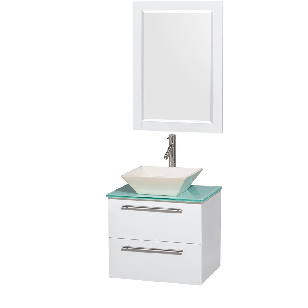 Wyndham Collection Amare 24 in. Vanity in Glossy White with Glass Vanity Top in Green with Bone Porcelain Sink and 24 in. Mirror