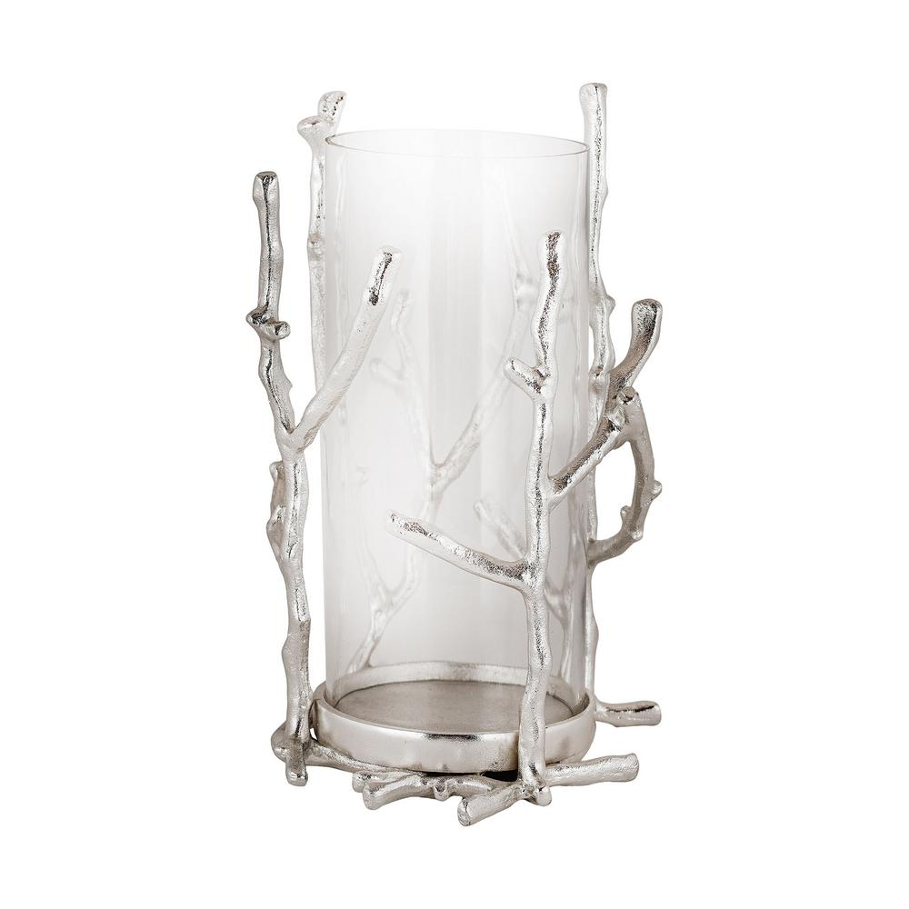 10 in. Silver Park Aluminum and Glass Hurricane Candle Holder