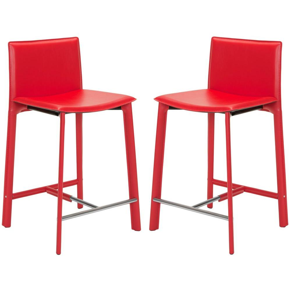 Safavieh Janet 24 in. Red Cushioned Bar Stool (Set of 2)