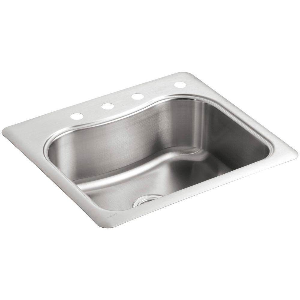 Commercial sink stainless steel 120 cm single bowl - Kohler Staccato Drop In Stainless Steel 25 In 4 Hole Single Basin Kitchen Sink K 3362 4 Na The Home Depot