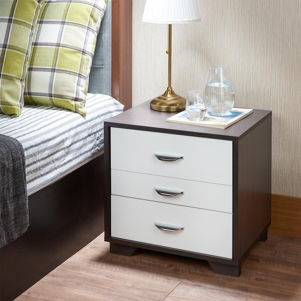acme furniture eloy white and espresso nightstand  the home  - eloy white and espresso nightstand