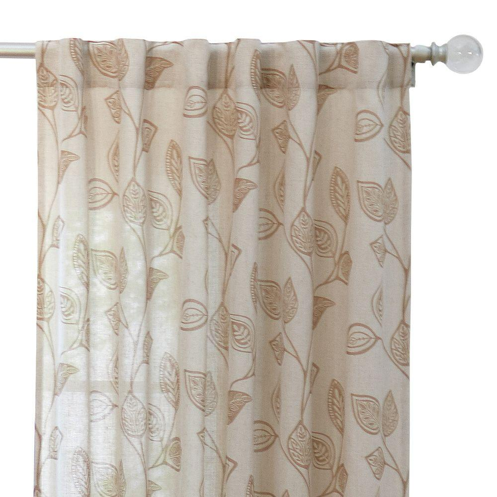 Home Decorators Collection Taupe Leaf Back Tab Curtain