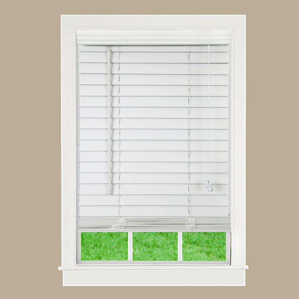 Perfect Lift Window Treatment White 2 in. Textured Faux Wood Blind - 59 in. W x 64 in. L (Actual Size: 59 in. W x 64 in. L)