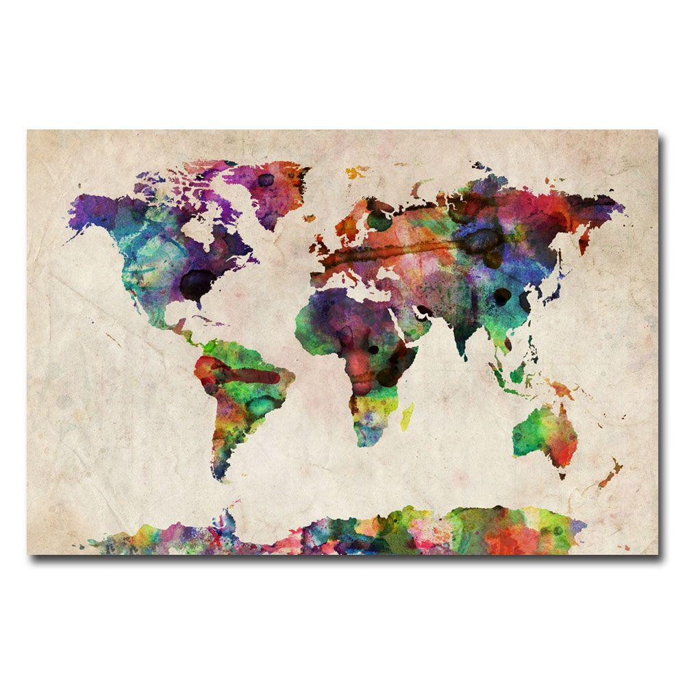 16 in. x 24 in. Urban Watercolor World Map Canvas Art
