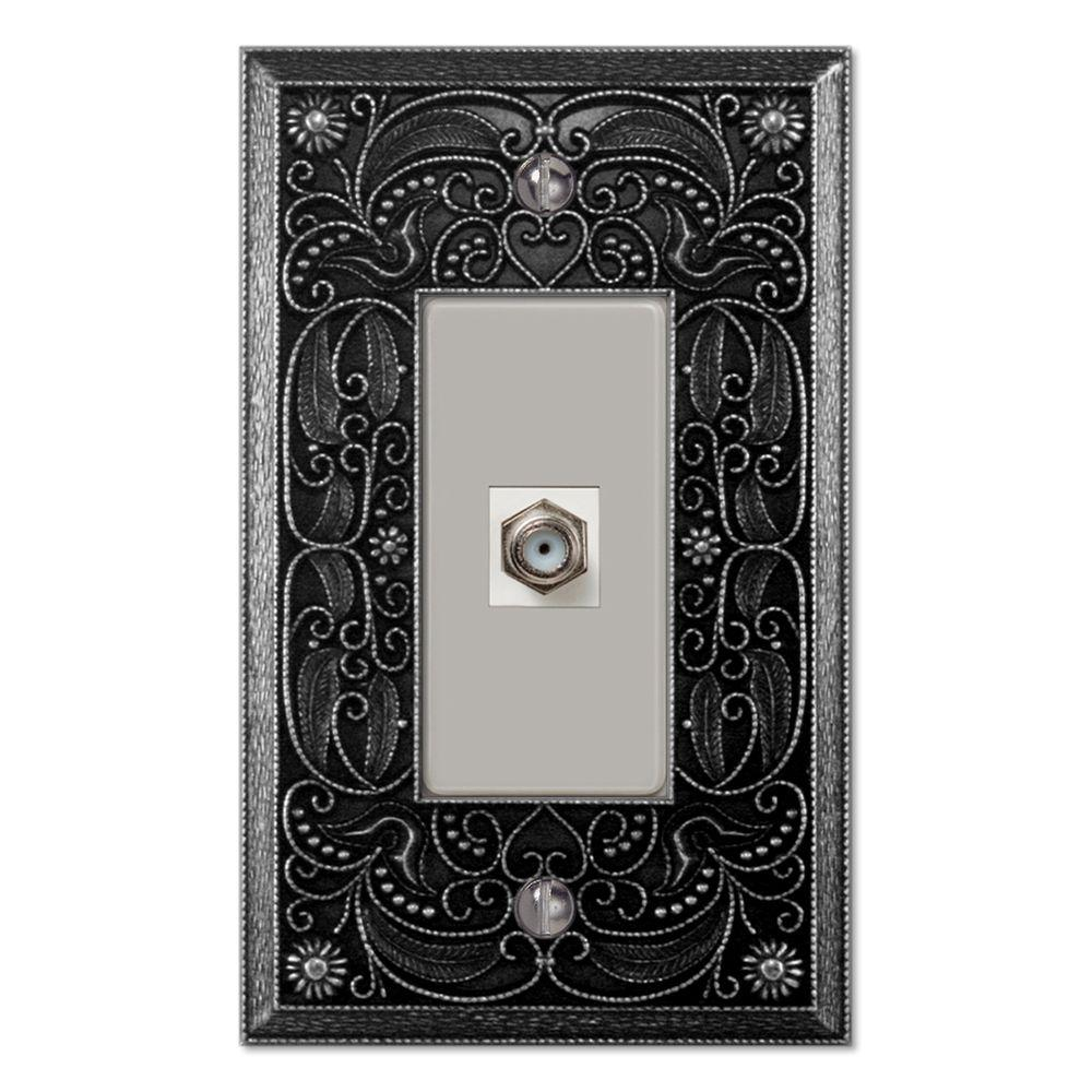 Creative Accents Arabesque 1 Gang Toggle Video Connector Decorative Wall Plate - Antique Pewter-DISCONTINUED