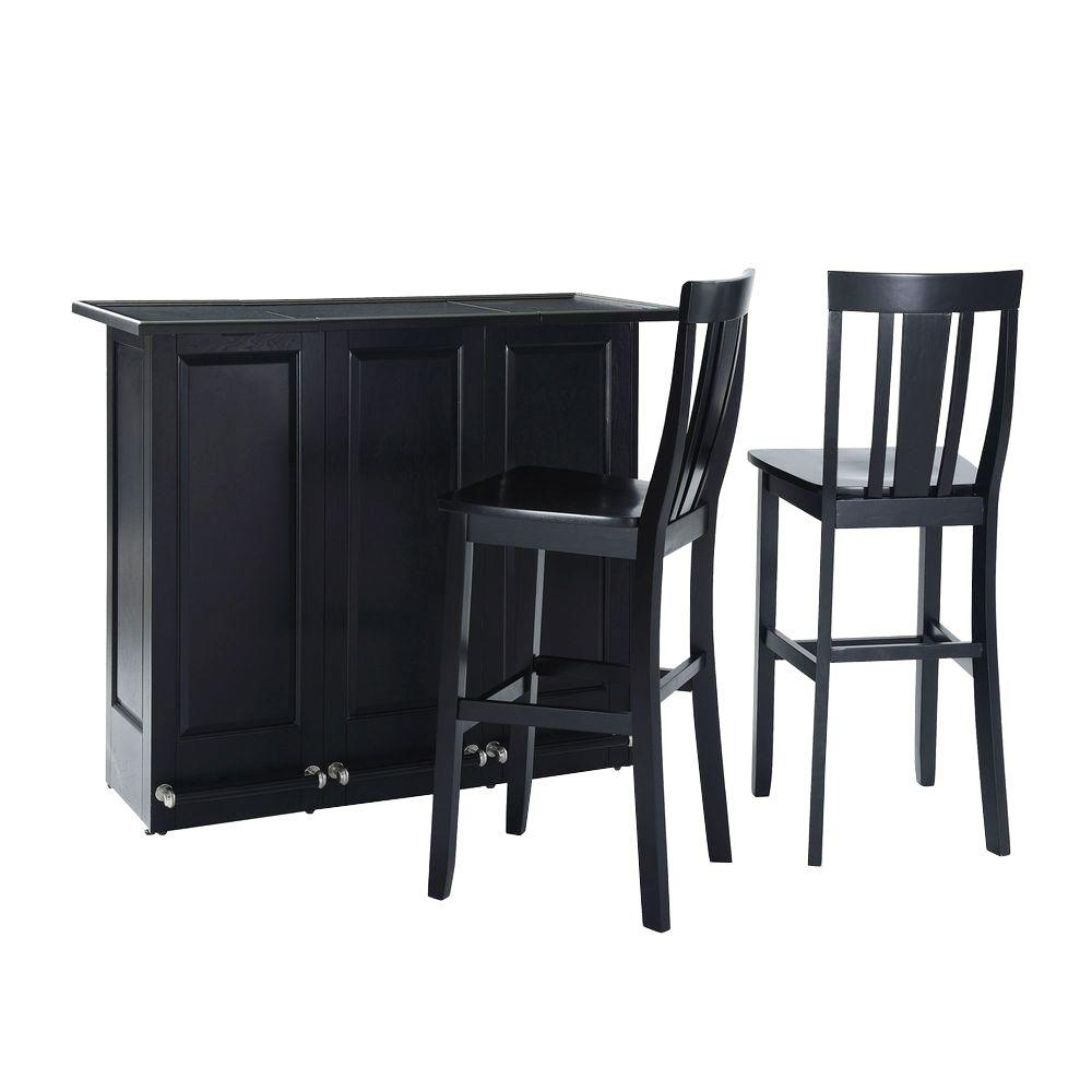 Crosley 48-3/4 in. W Mobile Folding Bar with Two 30 in. Shield Back Bar Stools in Black