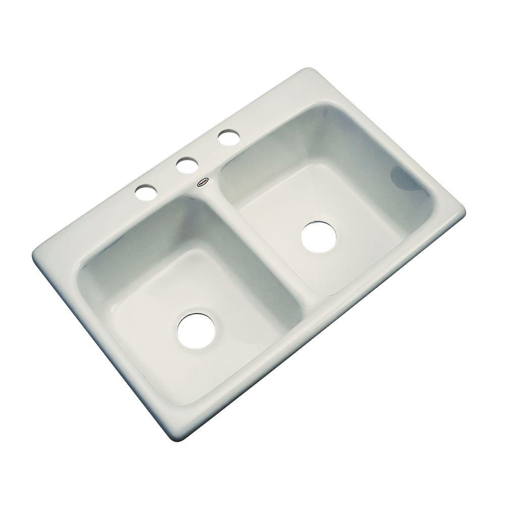 Thermocast Newport Drop-In Acrylic 33 in. 3-Hole Double Basin Kitchen Sink in Tender Grey