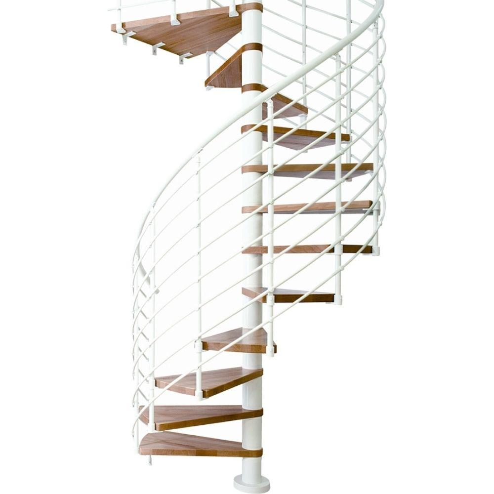 Oslo 47 in. 11-Tread White Spiral Staircase Kit