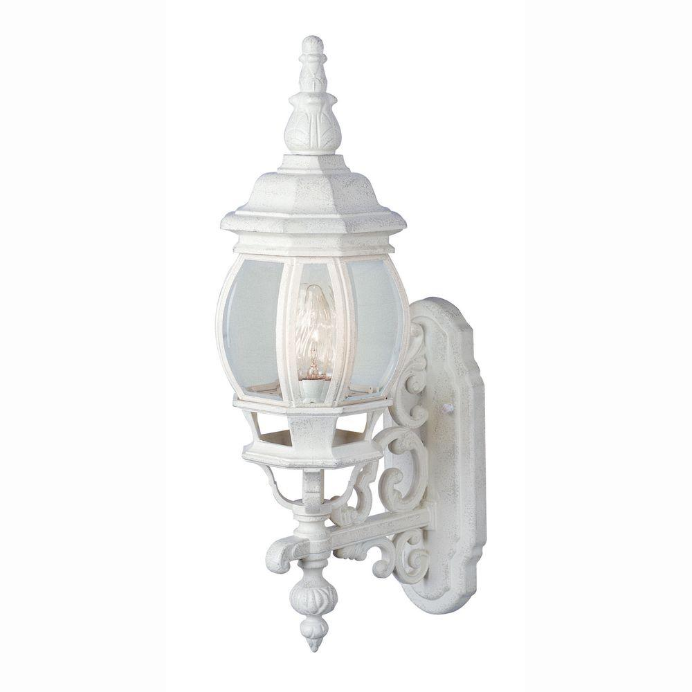 Bel Air Lighting Filigree 1-Light Outdoor White Coach Lantern with Clear