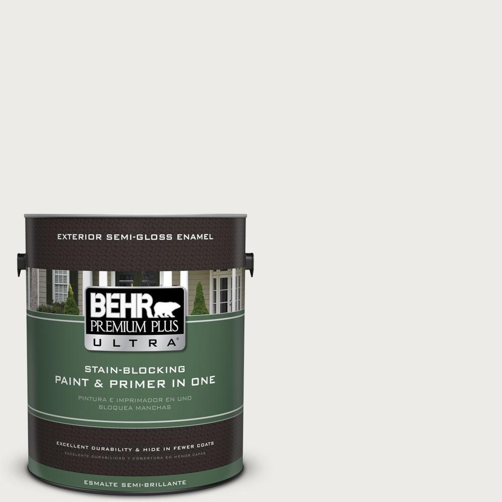 BEHR Premium Plus Ultra 1-gal. #PPU12-12 Gallery White Semi-Gloss Enamel Exterior Paint