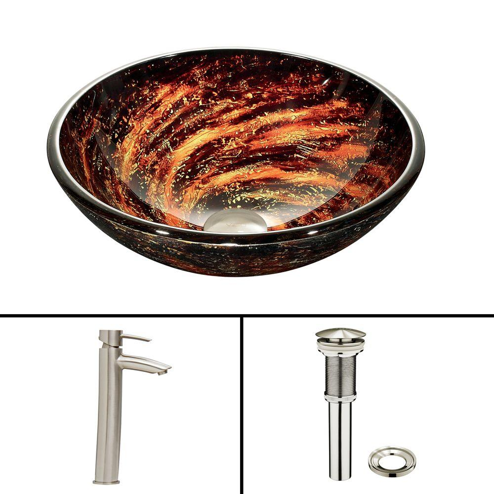 Glass Vessel Sink in Northern Lights and Shadow Faucet Set in