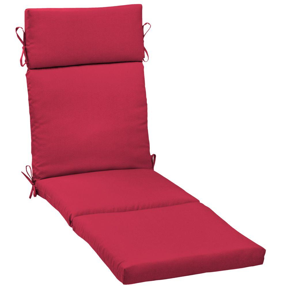 Hampton Bay Geranium Red Outdoor Chaise Cushion-DISCONTINUED
