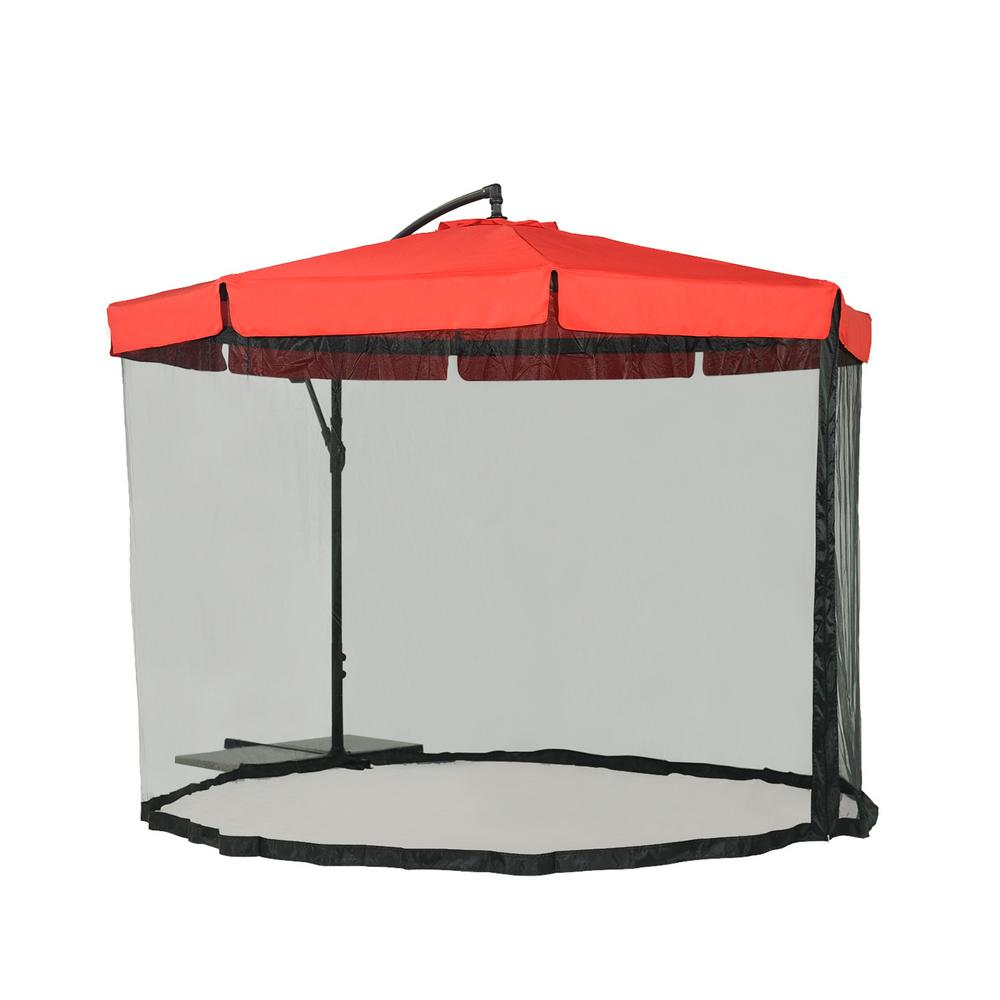 Steel Cantilever Patio Umbrella In Red