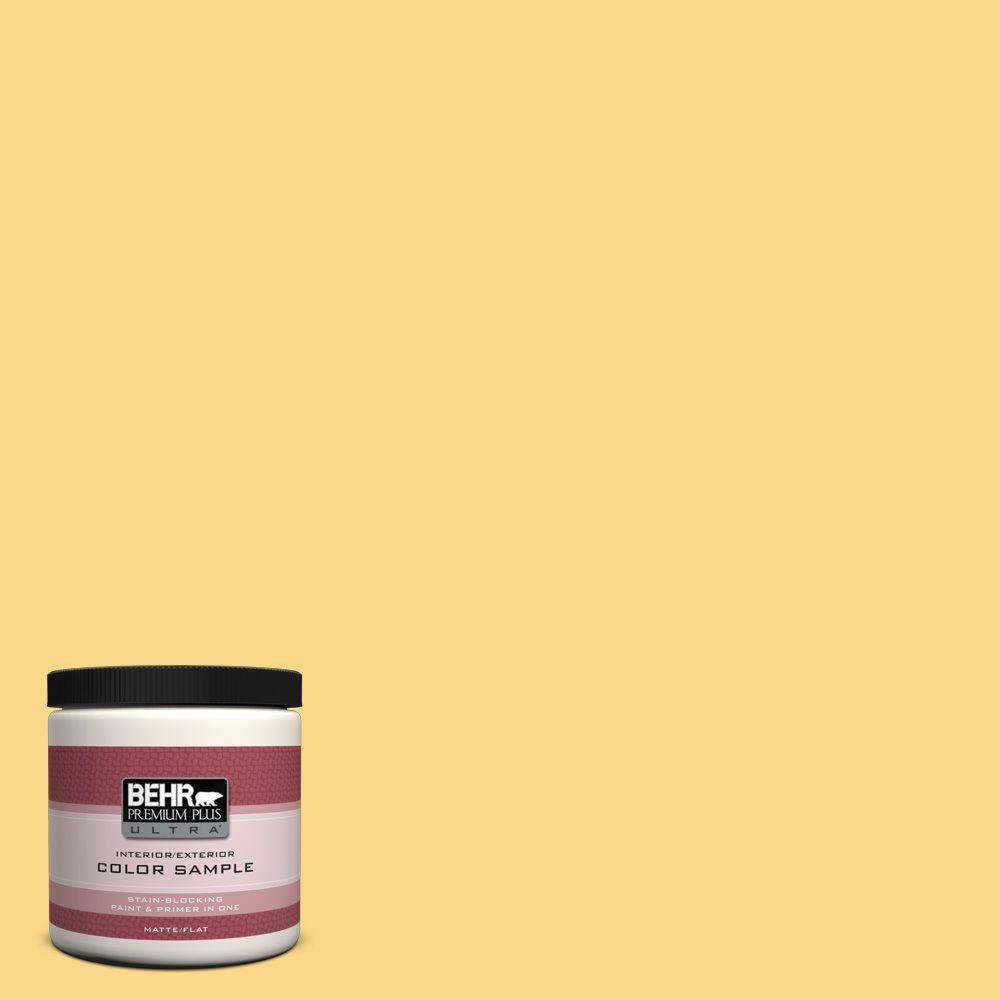BEHR Premium Plus Ultra 8 oz. #P280-4 Surfboard Yellow Interior/Exterior Paint Sample
