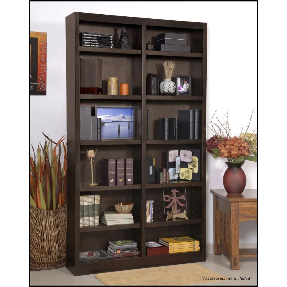 Concepts In Wood Midas Double Wide 12-Shelf Bookcase in Espresso