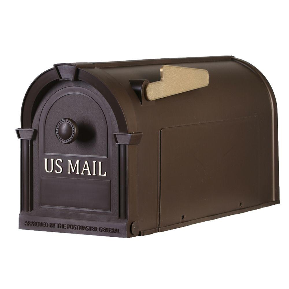 null Postal Pro Post-Mount Hampton Mailbox in Bronze with Gold Lettering