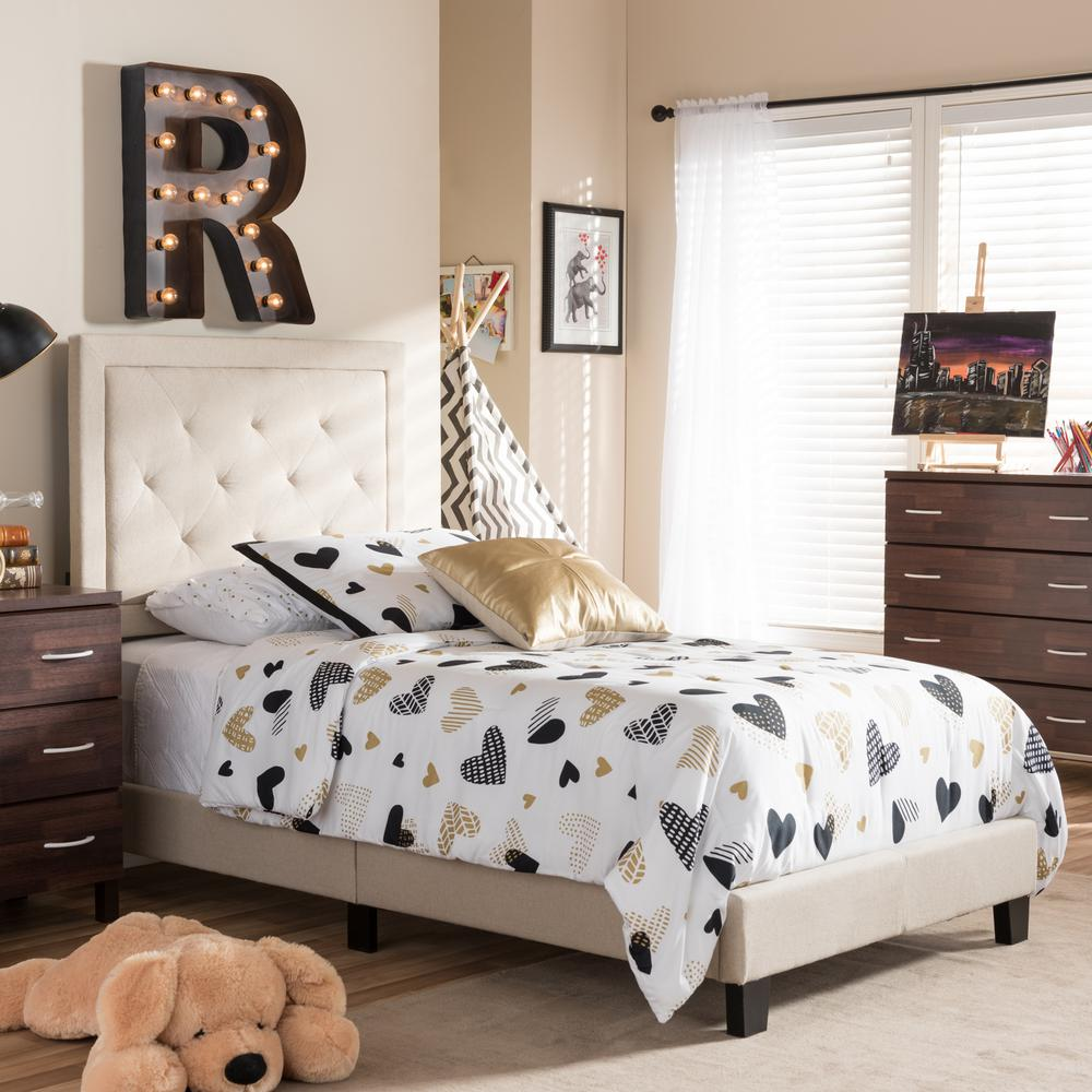 Paris Beige Twin Upholstered Bed