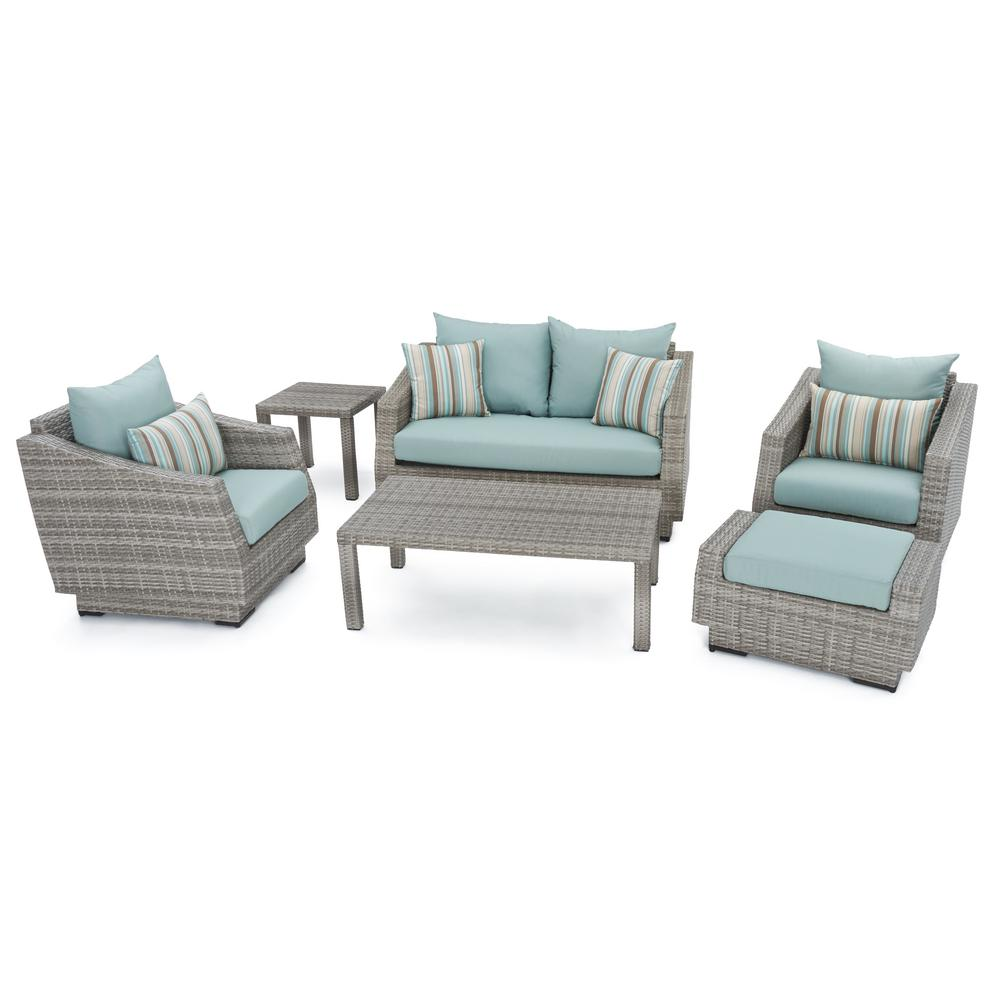 Cannes 6-Piece Patio Seating Set with Bliss Blue Cushions