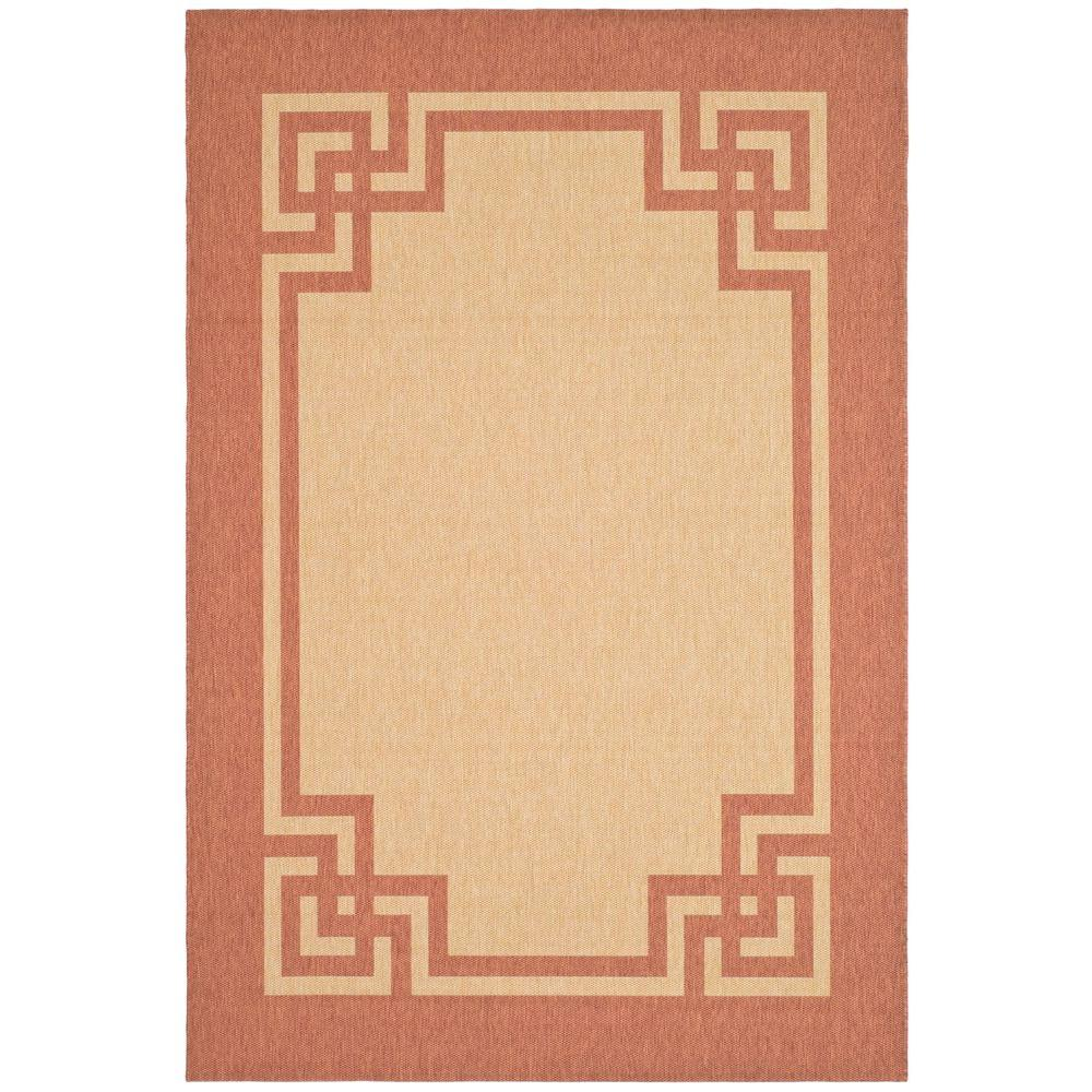 Martha Stewart Deco Frame Beige / Terracotta 6 ft. 7 in. x 9 ft. 6 in. Area Rug, Brown/Red