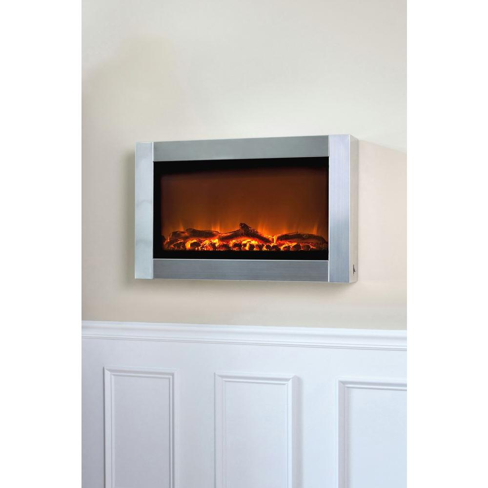Fire Sense 31 in. Wall-Mount Electric Fireplace in Stainless Steel