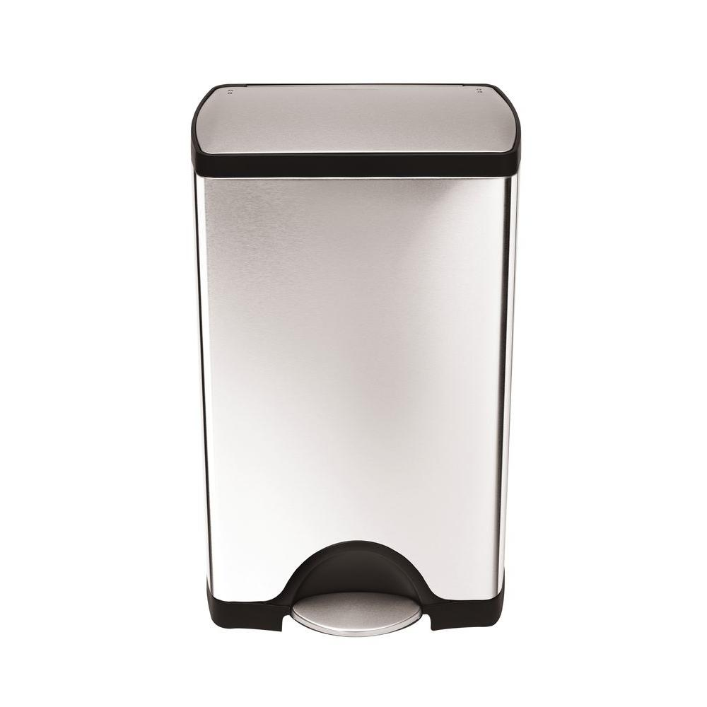 10 Gal. Rectangular Fingerprint-Proof Brushed Stainless Steel Step Trash Can
