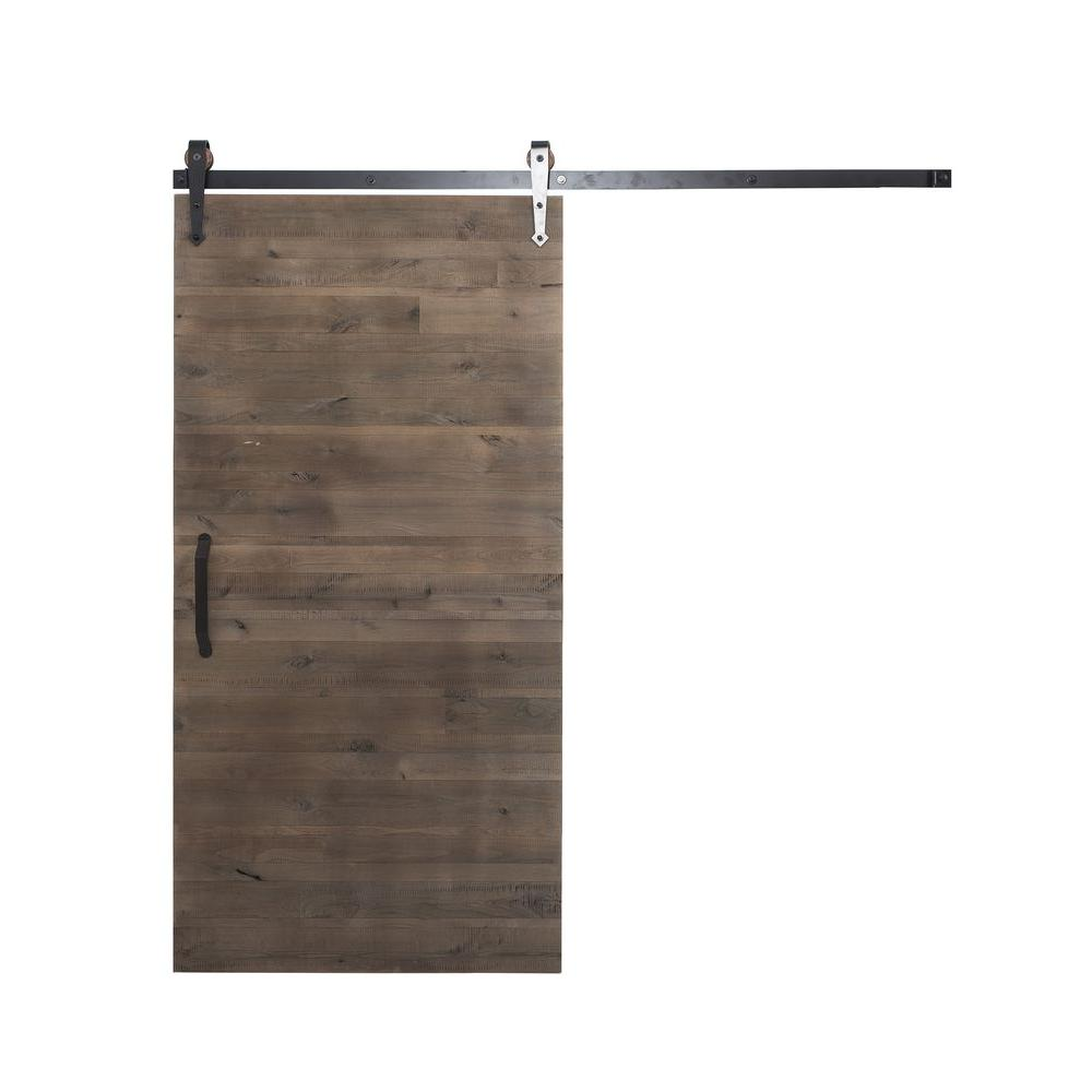 Rustica hardware 42 in x 84 in rustica reclaimed home depot gray wood barn door with arrow - Barn door track hardware home depot ...