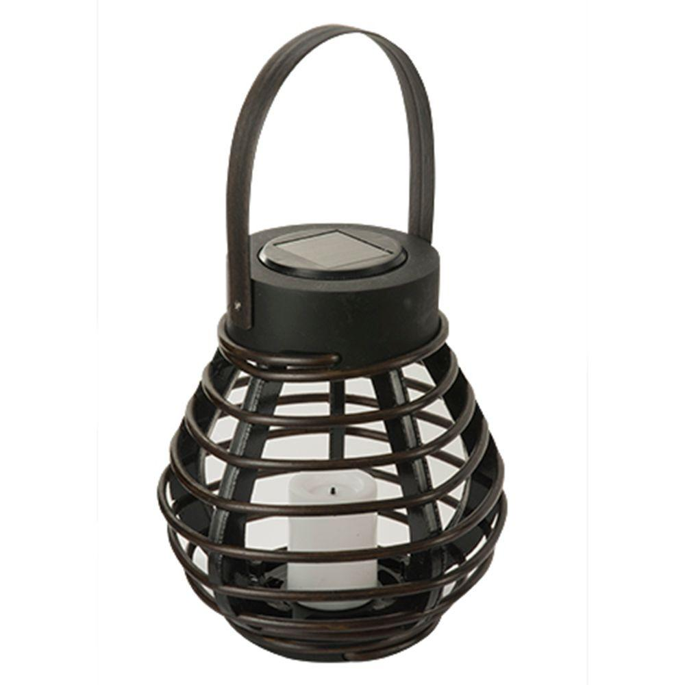 null Solar Brown Integrated LED Deck Light with Mini Solar PVC Rattan Basket