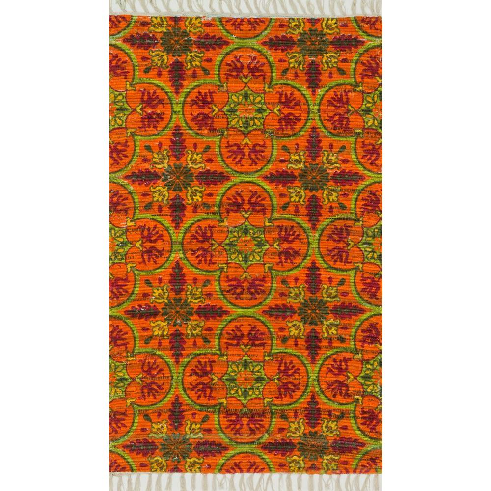 Loloi Rugs Aria Lifestyle Collection Orange/Multi 1 ft. 9 in. x 5 ft. Area Rug