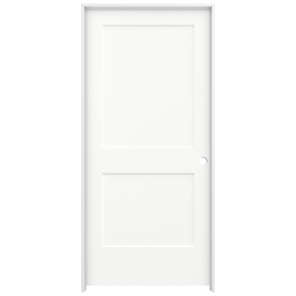 36 in. x 80 in. Smooth 2-Panel Brilliant White Solid Core