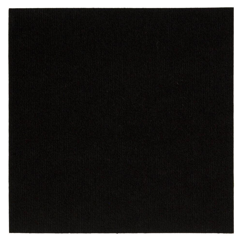 Mohawk Home Black Ribbed 18 in. x 18 in. Carpet Tiles (16 Tiles/ Case)-DISCONTINUED