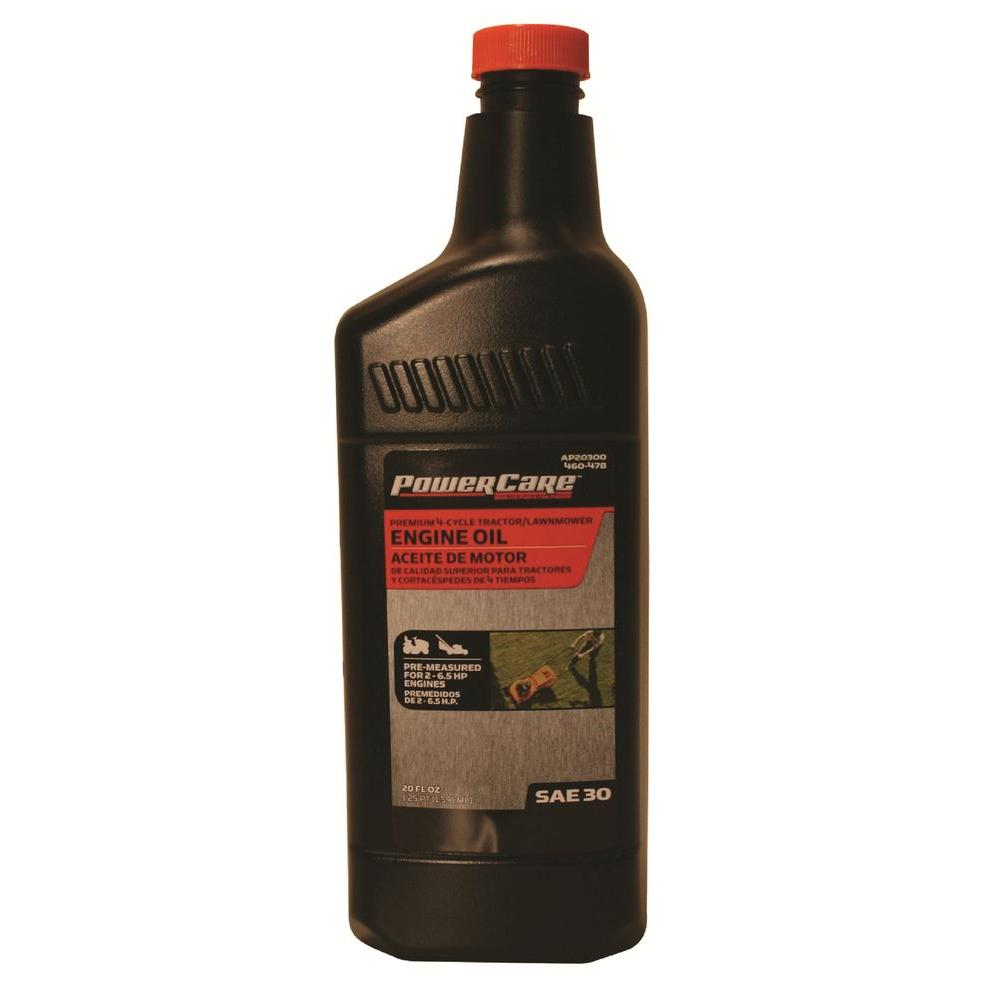 Power care 20 oz sae 30 tractor and lawn mower engine oil for Sae 20 motor oil