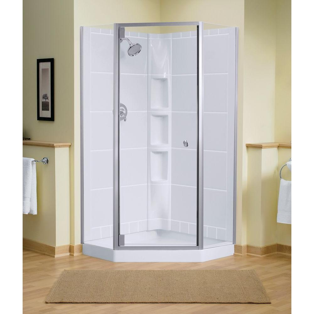 Solitare 29-7/16 in. x 72-1/4 in. Neo-Angle Shower Door in Silver