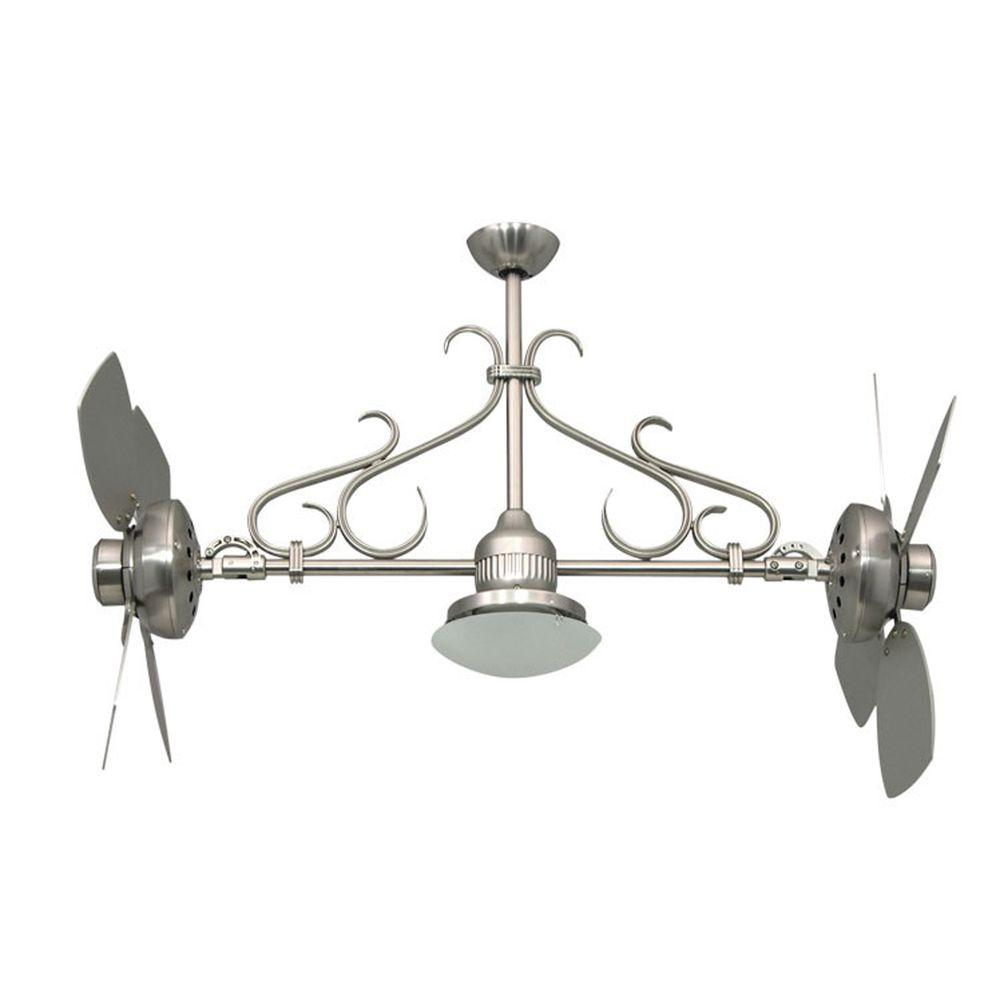 Yosemite Home Decor Typhoon 26 in. Indoor Brushed Nickel Frame Twin Ceiling Fan with Light Kit and Blades with Frosted Shade-DISCONTINUED