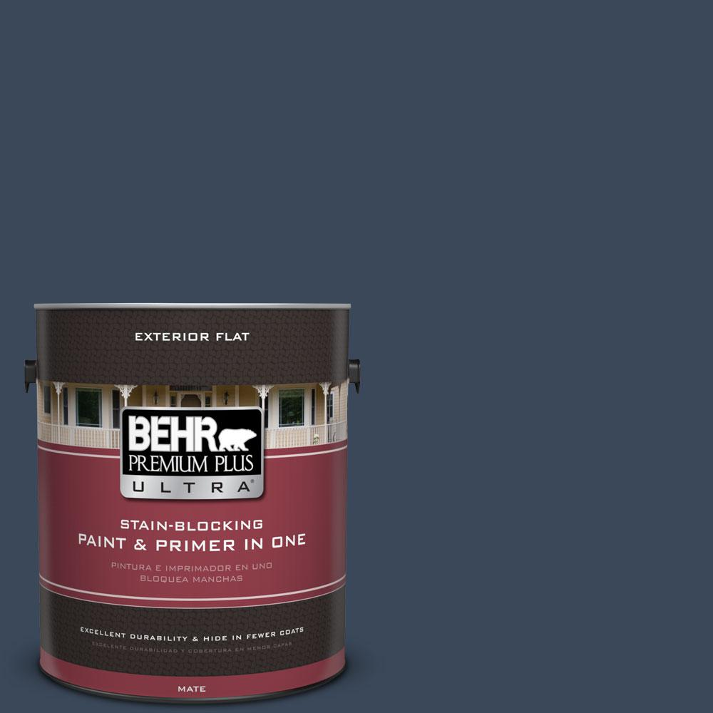 BEHR Premium Plus Ultra 1-gal. #M500-7 Very Navy Flat Exterior Paint-485301