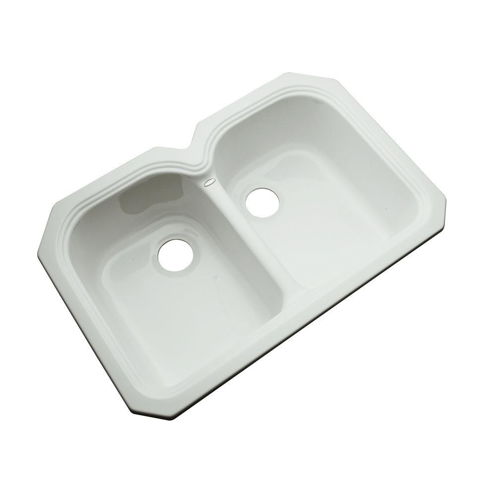 Thermocast Hartford Undermount Acrylic 33 in. 0-Hole Double Basin Kitchen Sink in Ice Grey