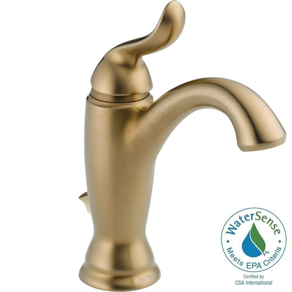 Delta Linden Single Hole Single-Handle Bathroom Faucet with Metal Drain Assembly in Champagne Bronze