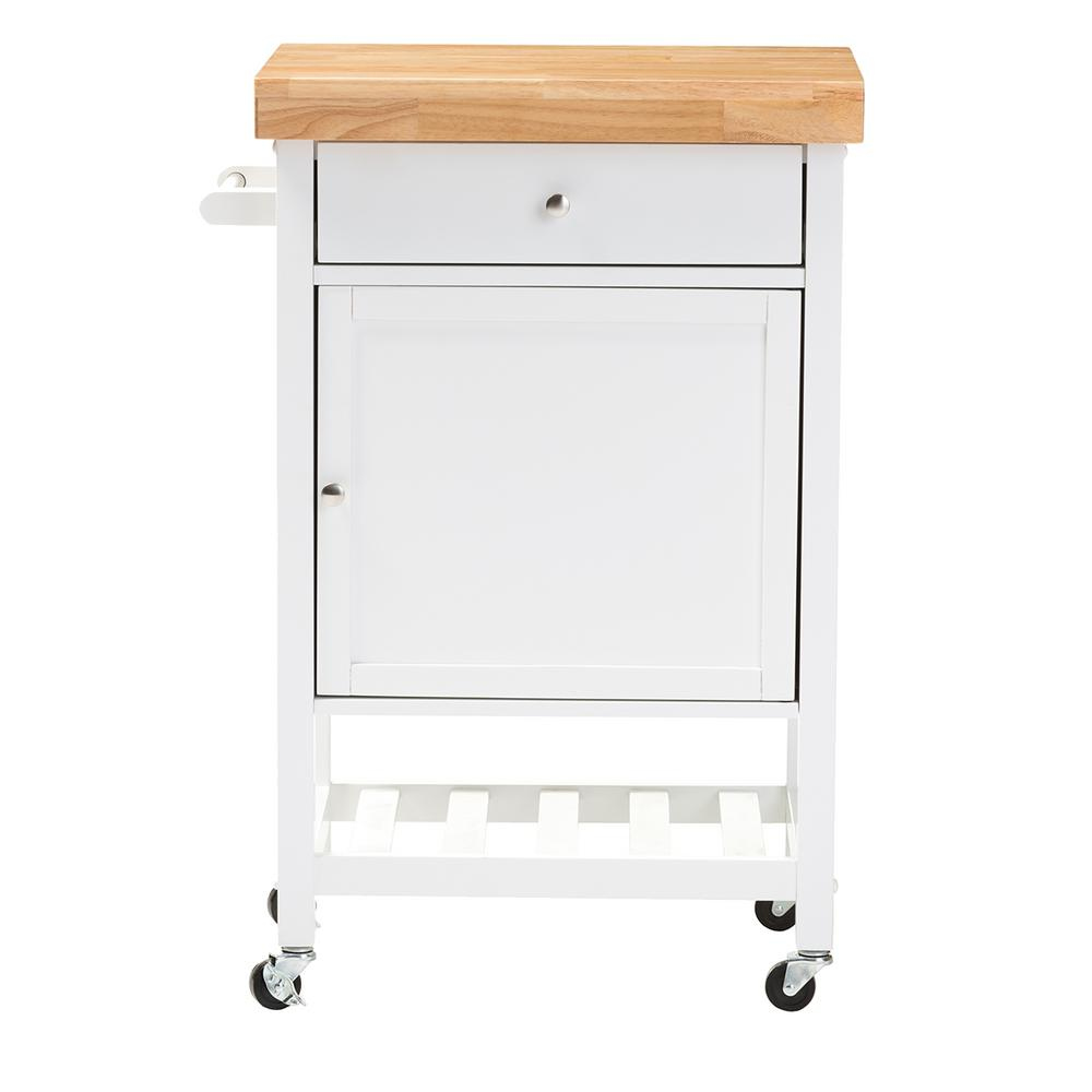 Baxton Studio Fermont 2-Tier Thick Wood Top 4-Wheeled Rolling Kitchen Cart