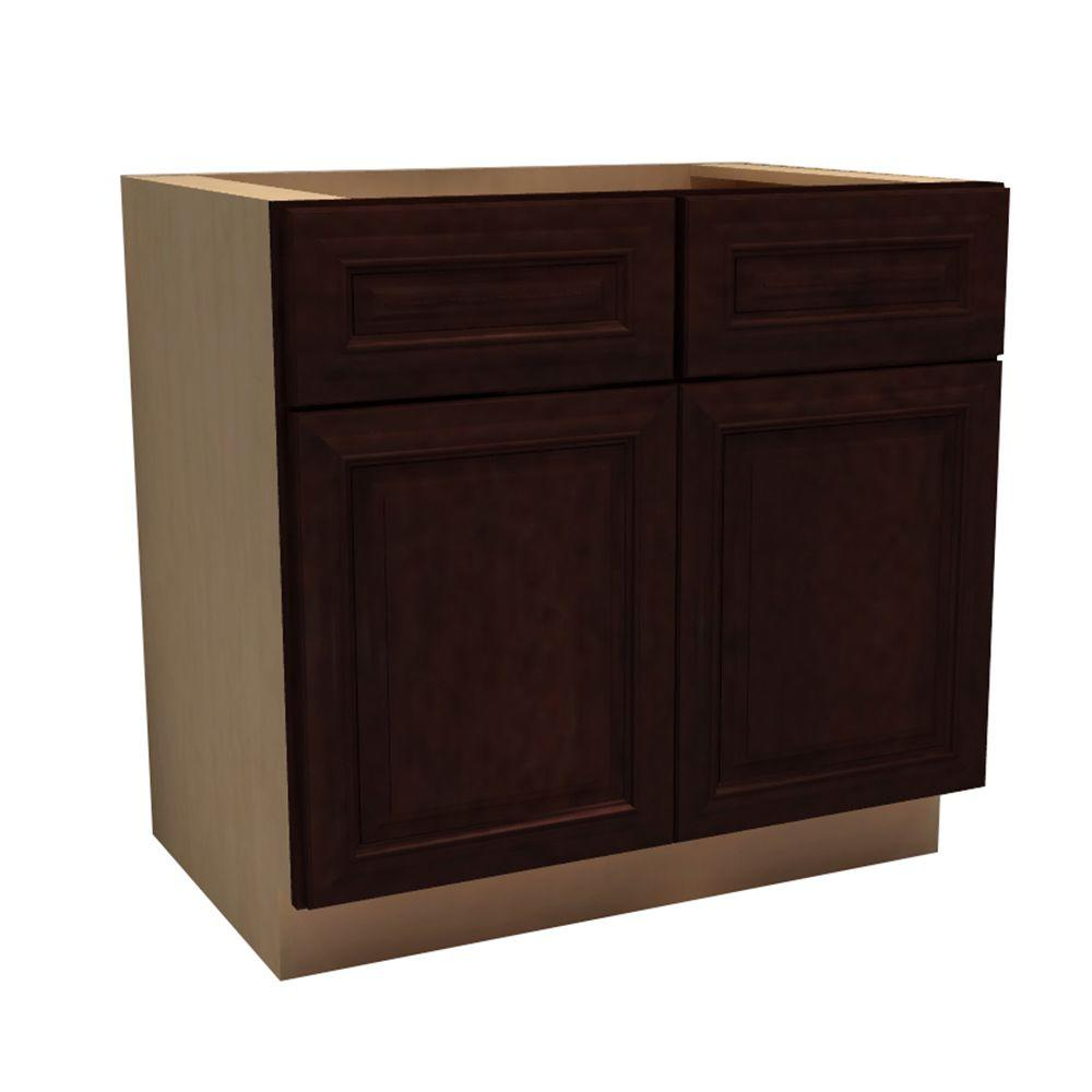 Home Decorators Collection 33x34.5x21 in. Somerset Assembled Vanity Sink Base Cabinet with 2 Doors and 2 False Drawer Fronts in Manganite